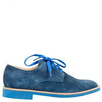 Замшевые туфли Gallucci с яркими шнурками и подошвой в тон , фото