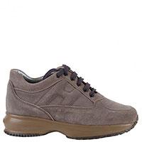 Замшевые кроссовки Hogan Junior коричневого цвета на шнуровке, фото
