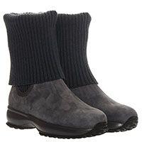 Ботинки из нубука серого цвета Hogan Junior с вязаным чулком, фото