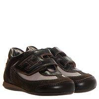 Кожаные кроссовки коричневого цвета с вставками из текстиля Hogan Junior на липучках, фото