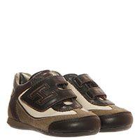 Кожаные кроссовки бежевого цвета с вставками из текстиля Hogan Junior на липучках, фото