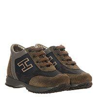 Замшевые кроссовки коричневого цвета с черными текстильными вставками Hogan Junior, фото