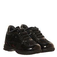 Кожаные кроссовки черного цвета с декором из пайеток Hogan Junior, фото