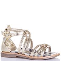 Золотистые сандалии Roberto Cavalli из кожи, фото