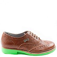 Туфли-броги Frankie Morello из коричневой кожи на яркой подошве, фото