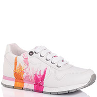 Белые кроссовки Naturino на шнуровке с ярким принтом, фото