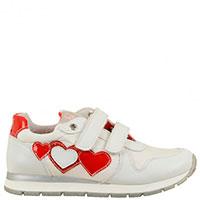 Кроссовки белого цвета Naturino с красными и серебристыми вставками, фото
