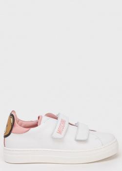 Детские белые кеды Love Moschino на липучках с мишкой, фото