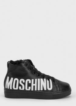 Зимние хайтопы Moschino с брендовой надписью, фото