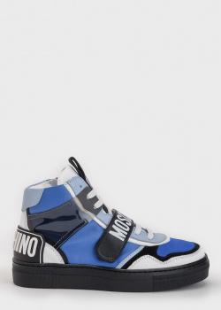 Высокие кеды Moschino синего цвета, фото