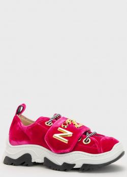 Детские бархатные кроссовки N21 розового цвета, фото