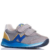 Кроссовки на липучках Naturino серые с синим, фото