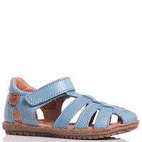 Голубые босоножки Naturino из гладкой кожи на липучках, фото