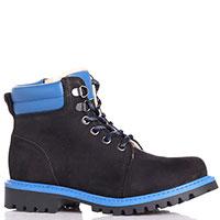 Черные ботинки Emporio Armani с яркими синими элементами, фото