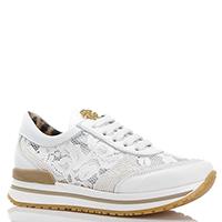 Белые кроссовки Roberto Cavalli с кружевными элементами, фото