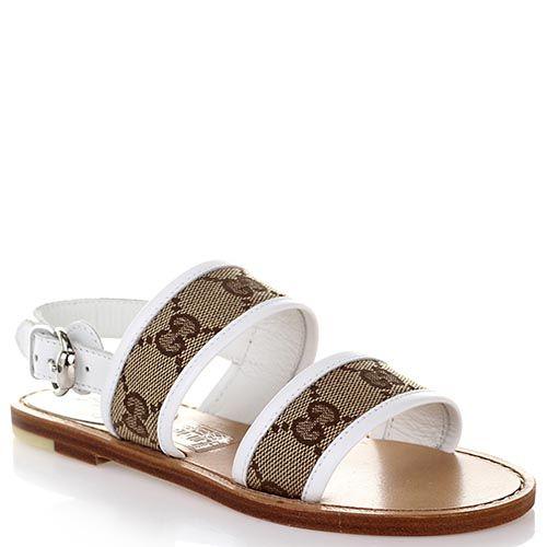 Босоножки Gucci из кожи белого цвета с брендированными текстильными вставками, фото