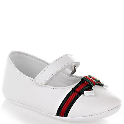 Туфли Gucci из кожи белого цвета с декоративным бантом на липучке, фото