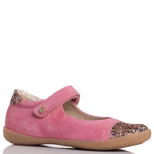 Розовые туфли из замши Naturino с глиттером, фото