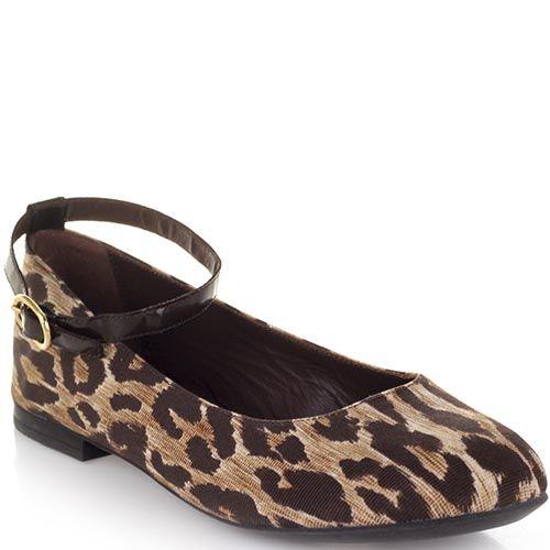 Туфли Dolce&Gabbana из текстиля коричневого цвета с животным принтом , фото