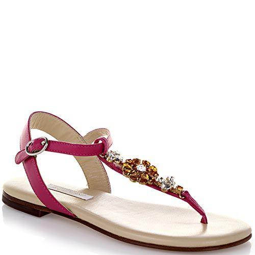 Босоножки Dolce&Gabbana кожаные розового цвета с декором в виде цветка из камней, фото