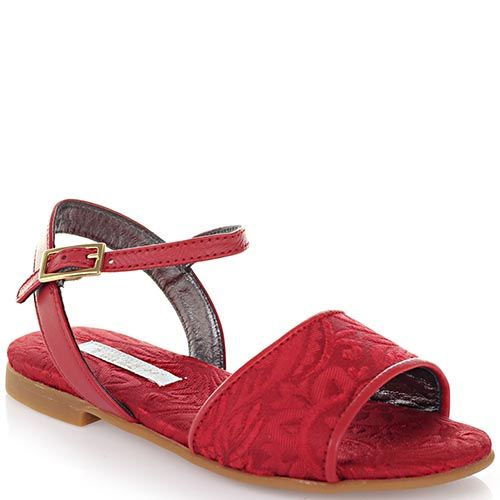Босоножки из текстиля Dolce&Gabbana с фактурным цветочным тисненим красного цвета, фото