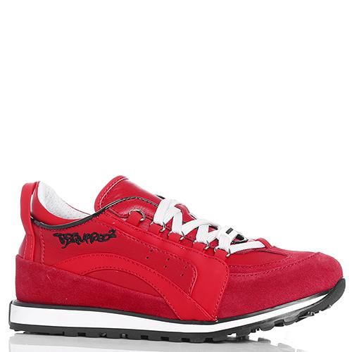Красные кроссовки Dsquared2 из кожи и замши, фото
