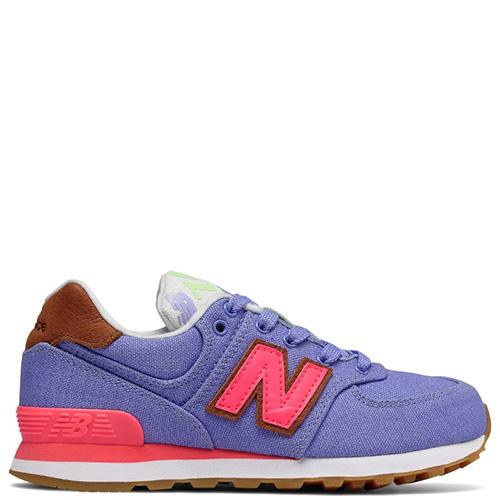 Кроссовки New Balance 574 фиолетового цвета с розовыми деталями, фото