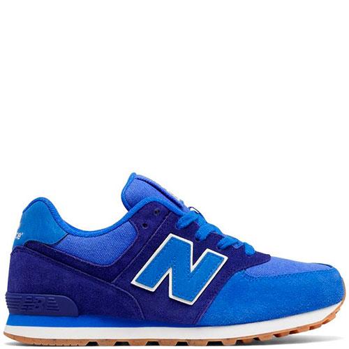 Яркие замшевые кроссовки New Balance 574 синего цвета, фото