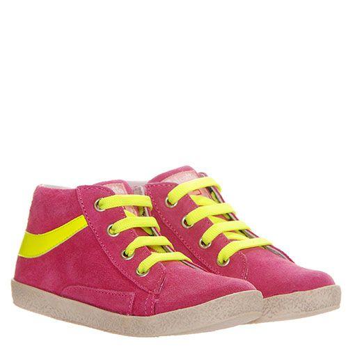 Замшевые кеды яркого розового цвета Falcotto с желтыми шнурками, фото