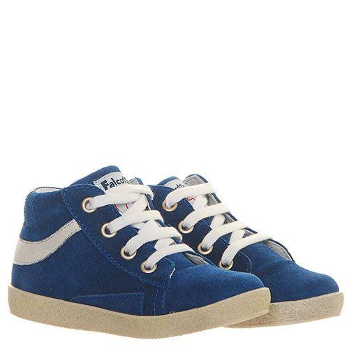 Синие замшевые кеды Falcotto с белыми деталями, фото