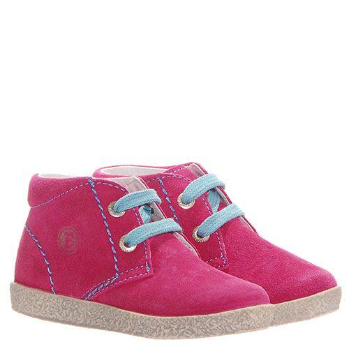 Розовые кеды из замши Falcotto с голубыми шнурками, фото