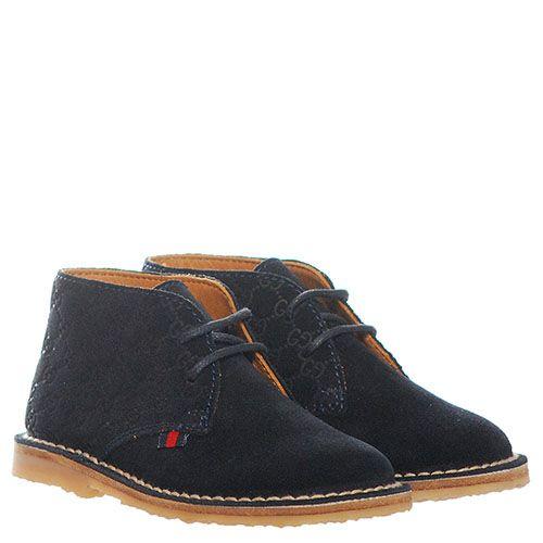 Замшевые ботинки синего цвета Gucci с фирменным тиснением, фото