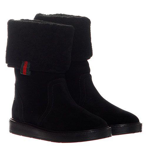 Замшевые сапоги черного цвета Gucci с логотипом, фото