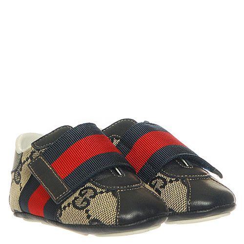 Пинетки из брендированного текстиля Gucci серого цвета, фото