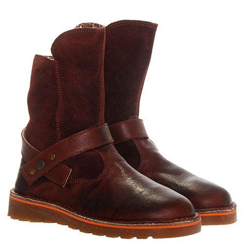 Высокие ботинки из кожи и замши Naturino с ремешком, фото