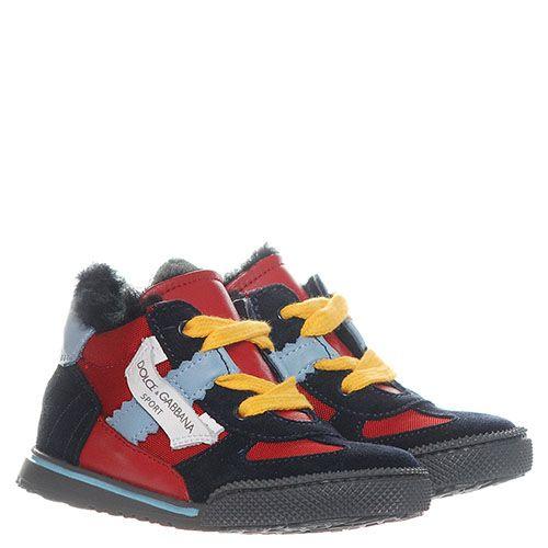 Замшевые кроссовки на меху Dolce&Gabbana с текстильными вставками, фото