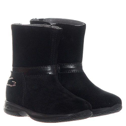 Замшевые ботинки черного цвета с логотипом Guardiani на молнии, фото