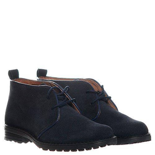 Синие замшевые ботинки на шнуровке Guardiani, фото