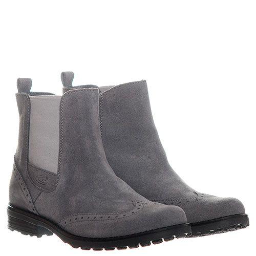 Высокие замшевые ботинки-броги серого цвета с перфорацией Guardiani на резинке и молнии, фото