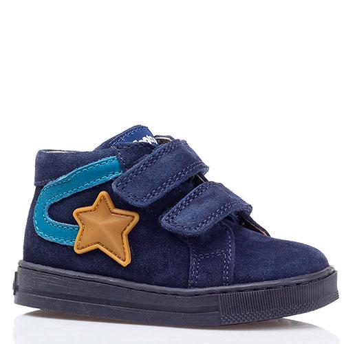 Синие замшевые ботинки на липучках Falcotto с аппликацией, фото