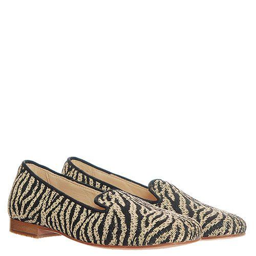 Туфли-лоферы из текстиля Florens с анималистичным принтом под зебру, фото