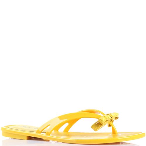 Резиновые сланцы Florens желтого цвета с бантиком, фото
