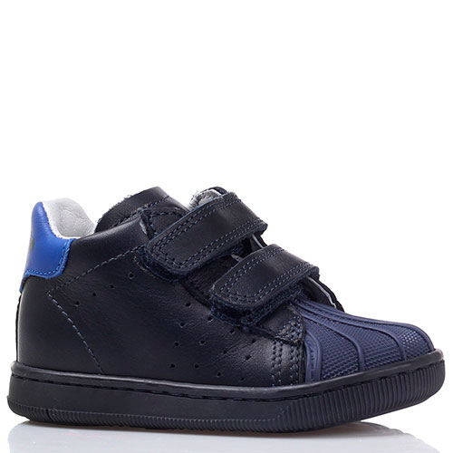 Кеды на липучках Falcotto из синей кожи с резиновым носочком, фото