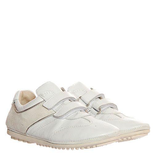 Белые кожаные кроссовки Florens на липучках, фото