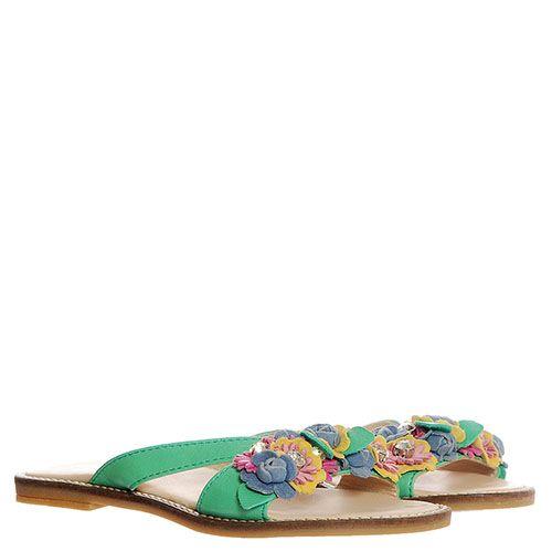 Сланцы из кожи зеленого цвета Florens с разноцветными цветочками и стразами, фото