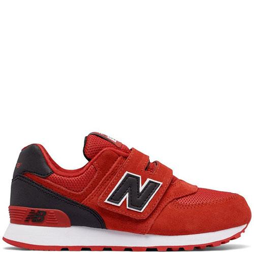Красные кроссовки New Balance 574 Lifestyle на липучках, фото