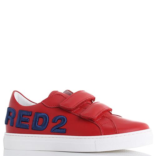 Детские кеды Dsquared2 красного цвета на липучках, фото