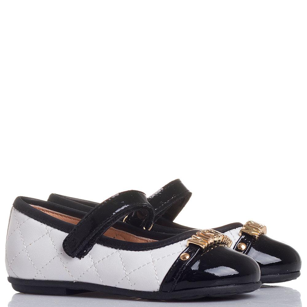 Черно-белые туфли Moschino с лаковыми ремешком и носочком
