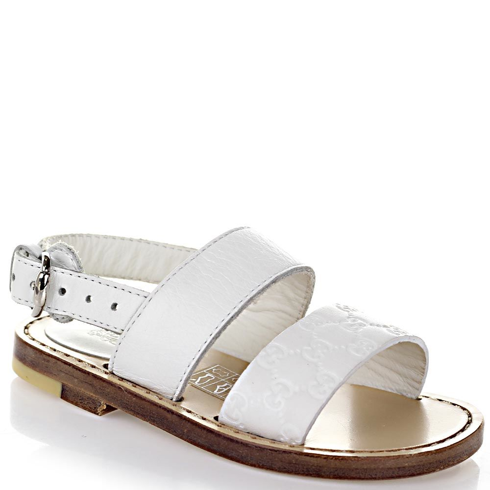 Босоножки Gucci из кожи белого цвета с брендированным тиснением