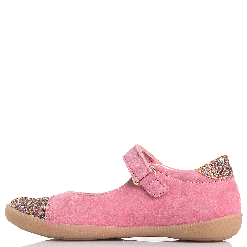 Розовые туфли из замши Naturino с глиттером